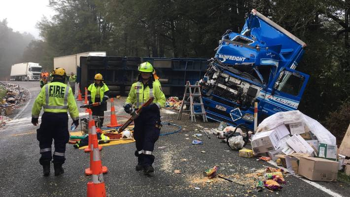 A person flown to hospital with critical injuries after truck crash