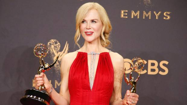 Nicole Kidman poses with the Emmys for Outstanding Limited Series and Outstanding Lead Actress in Limited Series for Big ...