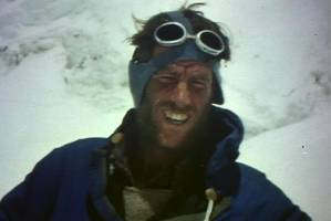 Edmund Hillary during the 1953 ascent of Everest.