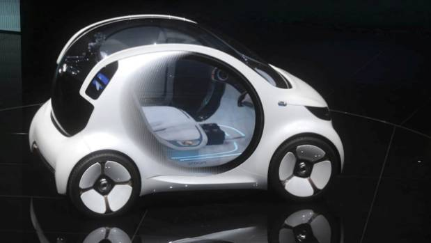 A Daimler Smart Vision EQ fortwo electric autonomous self-driving concept automobile at the IAA Frankfurt Motor Show.