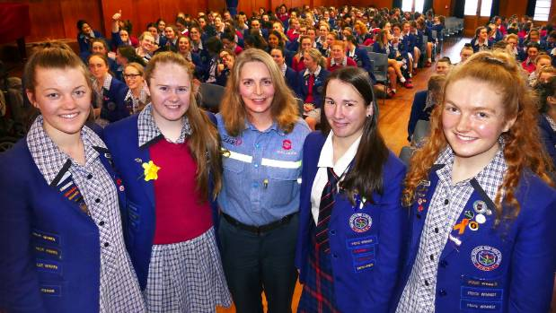 NZ Aluminium Smelters general manager Gretta Stephens, with Southland Girls' High School students Imogen Brankin, Tayla ...