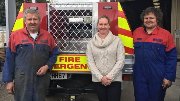 Fairlie Volunteer Fire Brigade firefighter Jeff Haugh, school bus driver Astrid Johns and firefighter Sam Haugh were ...