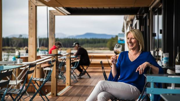 Debbie Lavery at her freshly renovated Jellyfish Cafe at Mapua Wharf.