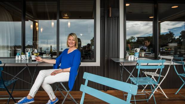 Debbie Lavery at Jellyfish Cafe at Mapua Wharf. The cafe has re-opened after major renovations over winter.