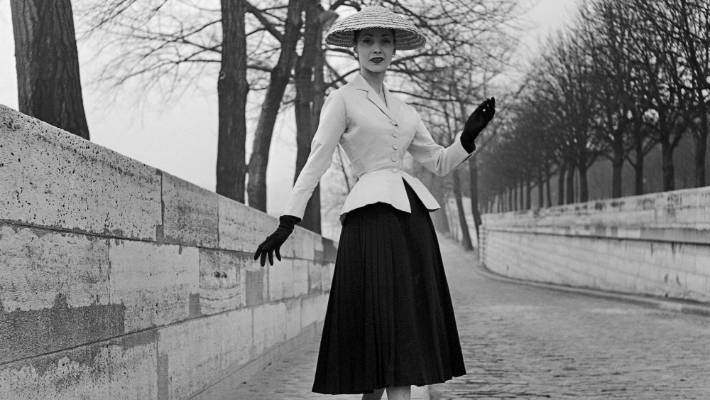 a7aa3479c5c8c Bar afternoon ensemble from the spring/summer 1947 Dior collection,  modelled by Renee,