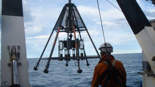A multi-coring device used to take seabed samples in Kaikōura Canyon is brought back aboard NIWA research vessel Tangaroa.