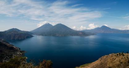 Lake Atitlan, Guatemala. From right to left: San Pedro volcano, Toliman and Atitlan volcano.