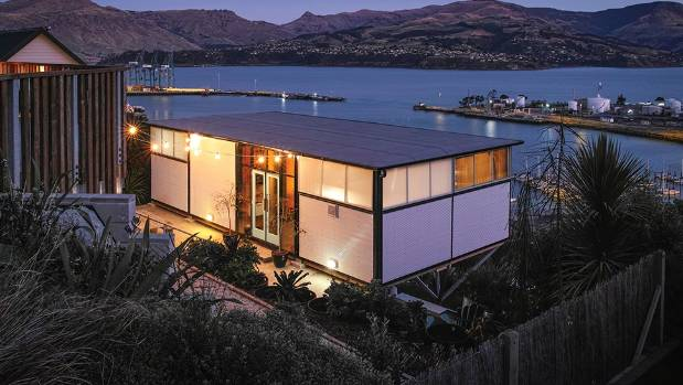The 66sqm home appears to be suspended over the port of Lyttelton.