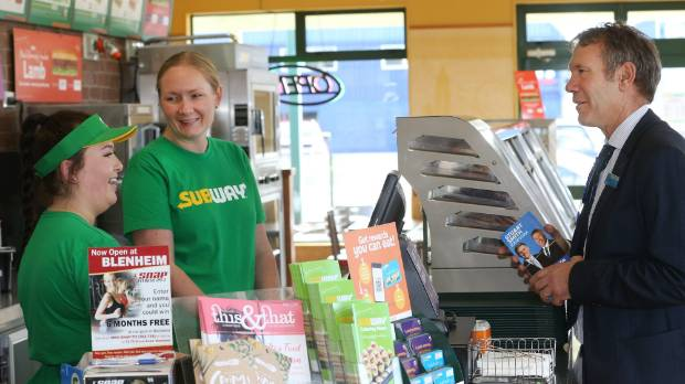 Kaikōura MP, National's Stuart Smith, visits businesses on Grove Rd, in Blenheim, in the last days of the campaign.