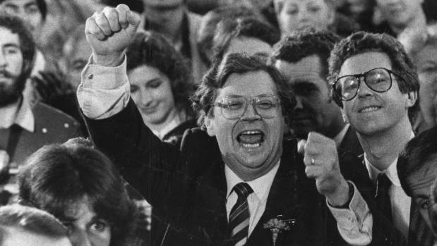 Former Prime Minister David Lange, pictured  winning the 1984 election, sent his condolences to  Simon Woolf' after his ...