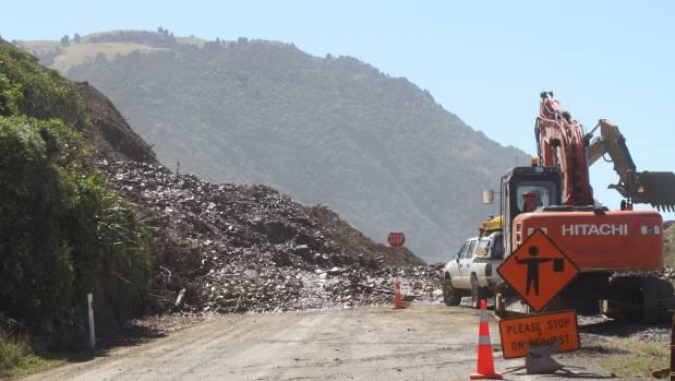 A large slip cut off the small settlement of Rakautara, 22 kilometres north of Kaikōura, after last year's earthquake.