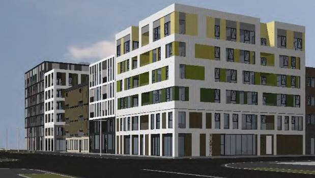 Images of residential apartments Fletcher Residential will build on East Framer superlot 11, as seen from the corner of ...