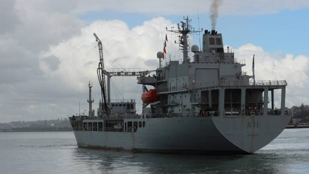 HMNZS Endeavour heads for Marsden Point oil refinery, to help ease the fuel shortage crisis.