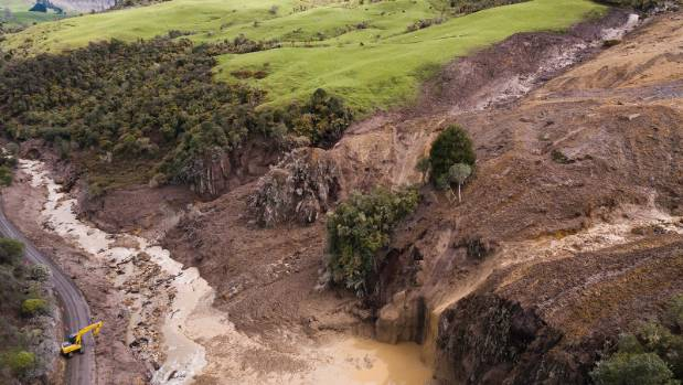 A large slip has taken out many acres on a farm near Te Kuiti.