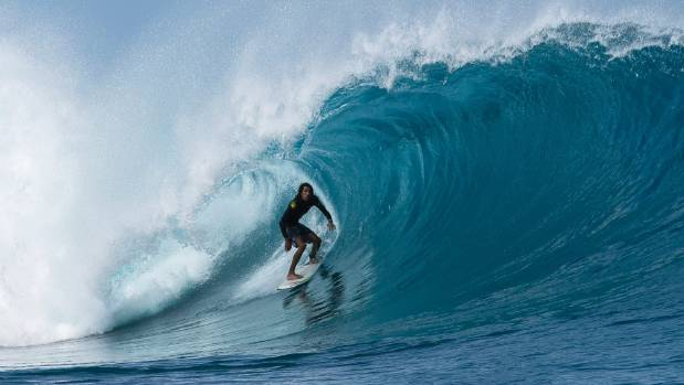 McCoy surfing Kandui in the Mentawai Islands, Indonesia, where he was for four months before coming home to New Zealand.