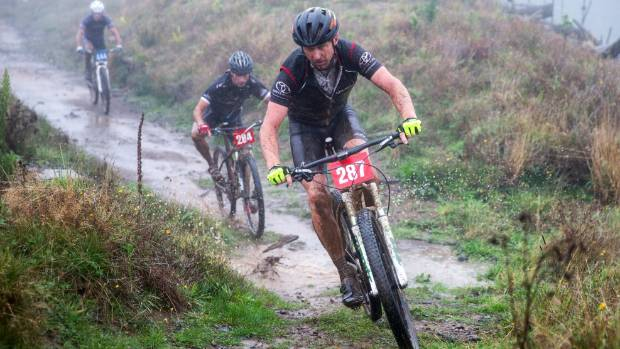 Kevin Laskey on the K Loop at top of Scotts Rd during the Manawatū Mountain Biking Club's Kahuterawa Classic.