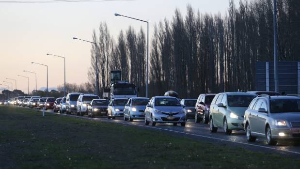 """Congestion on the northern motorway just south of the Waimakariri Bridge. A third lane for """"high occupancy vehicles"""" has ..."""
