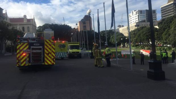Fire, Police and Ambulance staff at the scene outside Parliament.