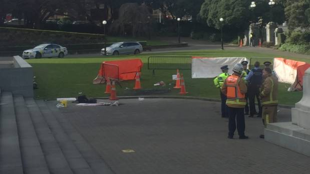 Emergency services near a patch of burnt grass outside Parliament House in Wellington where a man reportedly set himself ...