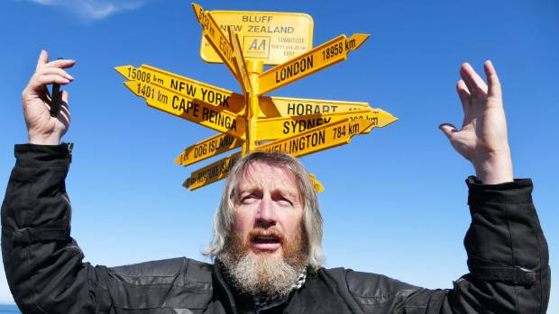 Scottish tourist Geoff Mumford tries to make sense of Bluff's suspect signpost.