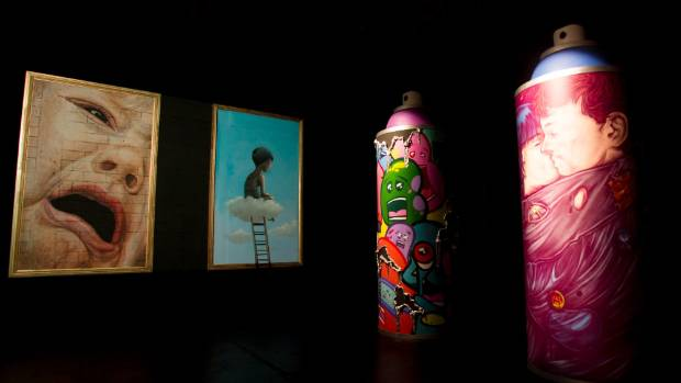 The spray cans during the Spectrum Street Art Festival.