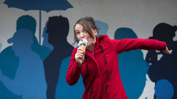 India Curtis, of Rollickin' Gelato, with a mixture of their new political ice cream flavours.