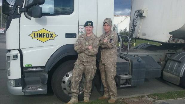 Lance Corporal Kayley Hastie-Hunt (left) and Lance Corporal Nix Vunipola will help cart thousands of litres of fuel ...