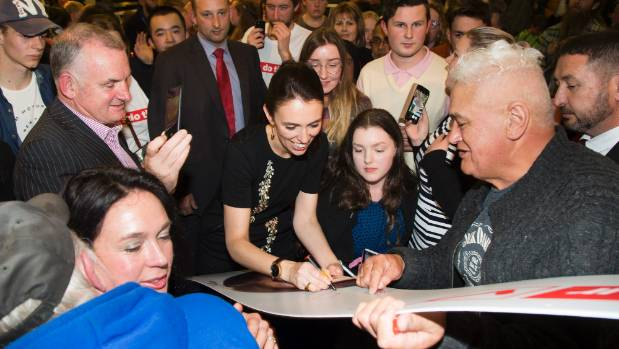 Labour leader Jacinda Ardern at Wainuiomata Rugby Club on Thursday night, when she announced the party's plans for a $20 ...