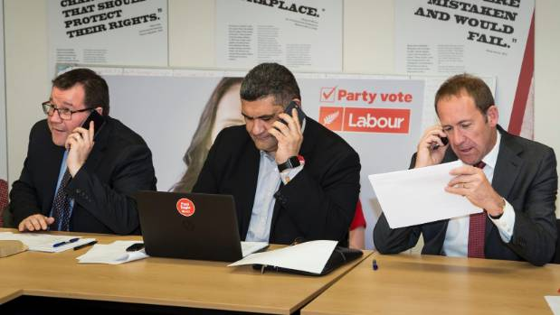 From left, Wellington Central candidate Grant Robertson, Paul Eagle and former leader Andrew Little man the Labour phones.