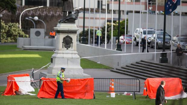 A cordon was put up outside Parliament after the man set himself alight.