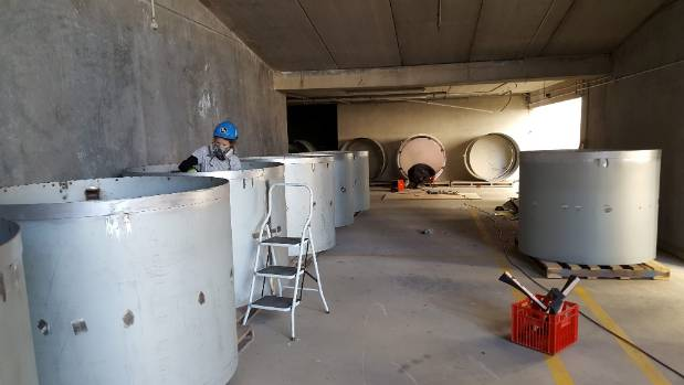 The spray cans were weatherproofed for the East Frame site, a painstaking process which took several weeks.