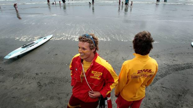 Nathan Berry, left, on duty at the Waitarere Beach Big Dig in 2012.