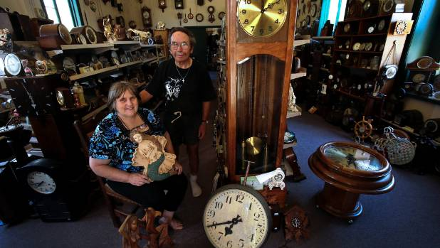Bill and Kathy Williams at their home, Chimers Farm in Colyton, where Bill has amassed thousands of clocks. Kathy also ...