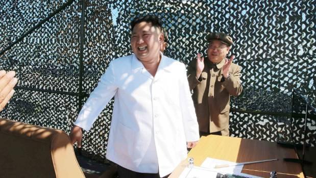 North Korean leader Kim Jung Un supervises a demonstration of a new rocket engine.