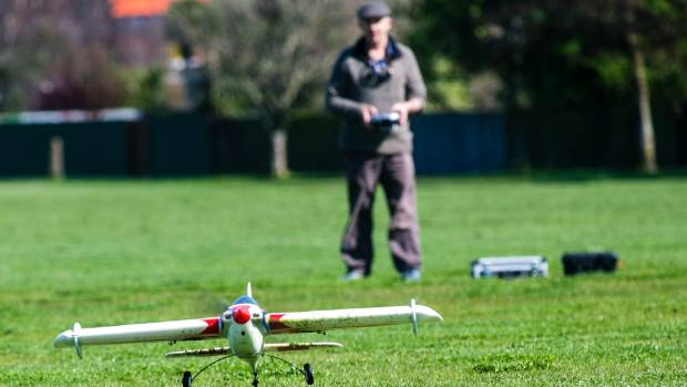 South Canterbury Model Aero Club vice-president Robbie Hellewell launches his Parkzone Visionair AS3X aircraft into the ...