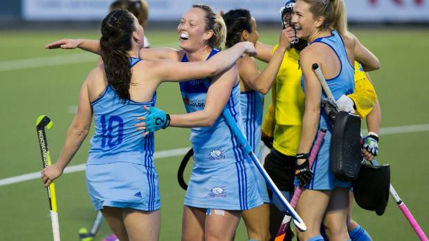 Northland celebrate their win over North Harbour on Friday night. National Hockey League