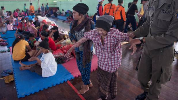 Evacuated villagers at a shelter in Klungkung, Bali.