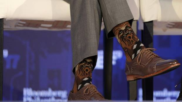 Justin Trudeau, Prime Minister of Canada, sparks an intergalactic incident by wearing Chewbacca socks at a business ...