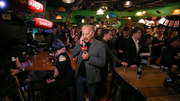 TOP leader Gareth Morgan speaks during a television interview at The Opportunities Party election night function at Meow ...