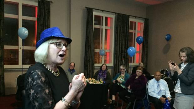Dean addresses her supporters at an election night function at the Oamaru Opera House after learning she had won a fith ...