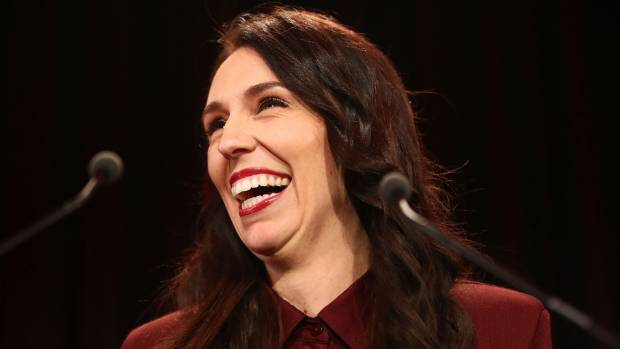 Labour Party leader Jacinda Ardern addresses her supporters as she waits for an election verdict.