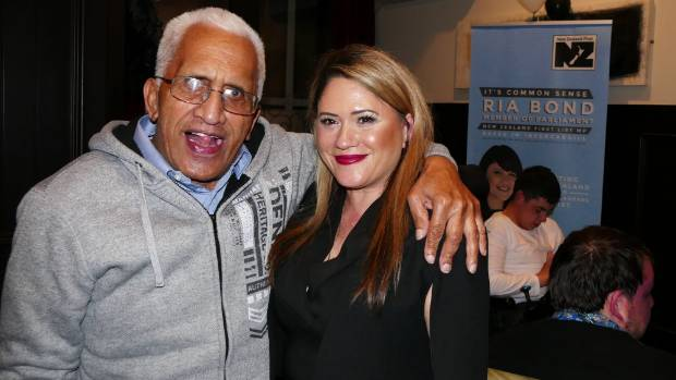 NZ First Invercargill candidate Ria Bond with her father Ariki Hoterene-Shortland at the Kelvin Hotel in Invercargill.