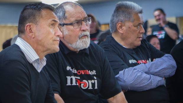 Te Tai Hauāuru Maori Party candidate Howie Tamati, left, with supporter Jack Niwa on Saturday night.