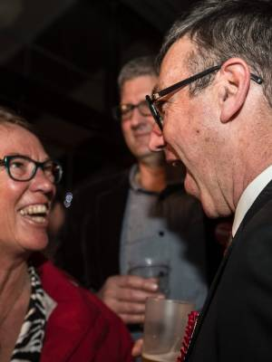 Labour's victorious Christchurch Central candidate Duncan Webb shares a moment with Port Hills MP Ruth Dyson on election ...