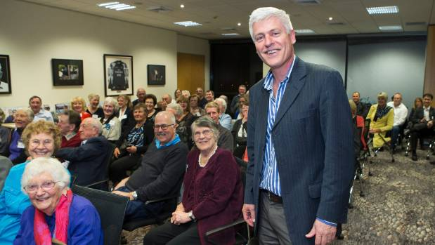 Hamilton East National Party MP Tim Macindoe with supporters on Saturday night.