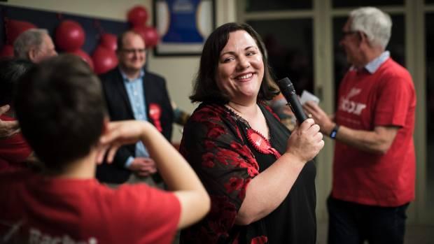 Rachel Boyack speaks to her supporters on election night.
