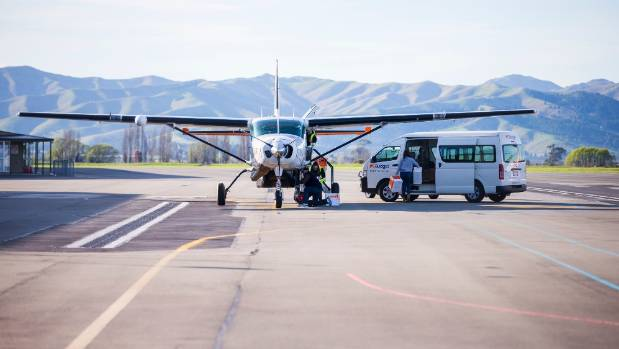 The plane was unable to land in Kaikōura on Friday, but successfully landed there on Sunday morning.