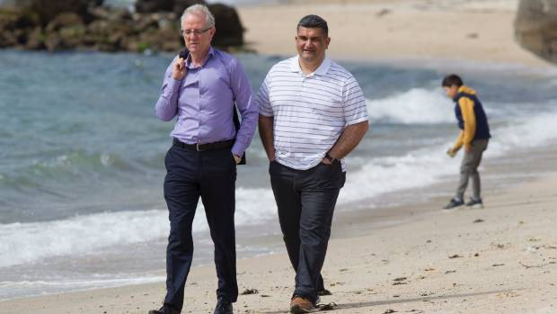 Greg O'Connor, left, and Paul Eagle at Oriental Bay, Wellington, on Sunday, after both were elected to Parliament for ...