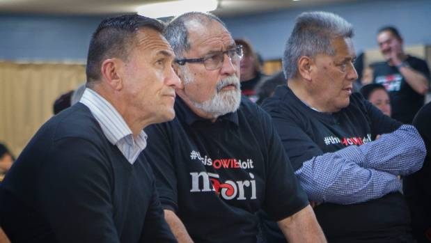 Maori Party candidate Howie Tamati,with supporter Jim Niwa on election night at  Mururaupatu Marae , Bell Block