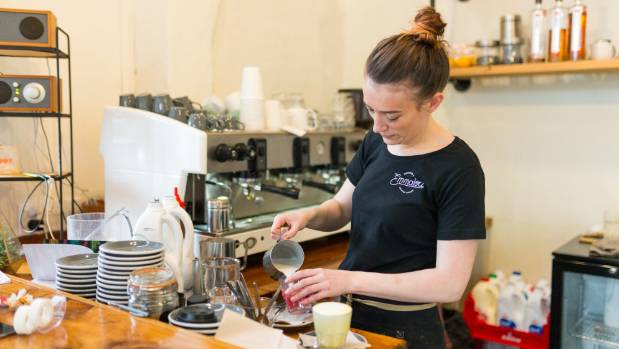 Zoe Flower, co-owner of Emmalou Macaron and Coffee House in New Plymouth makes around 30 of the new flavored coffees a week.